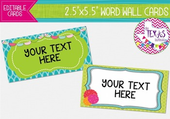 Word Wall Cards - Green, Turquoise and Pink {EDITABLE}