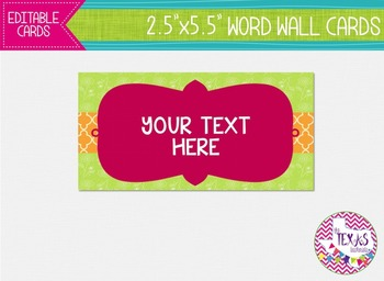 Word Wall Cards - Green and Hot Pink {EDITABLE}