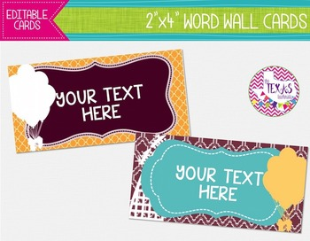 Word Wall Cards - Maroon, Aqua and Yellow, Rollercoaster T