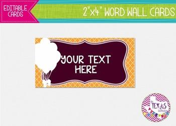 Word Wall Cards - Maroon and Yellow, Circus Theme {EDITABLE}