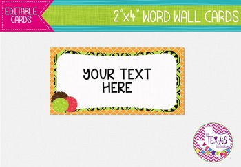 Word Wall Cards - Orange, Green and Chocolate Brown {EDITABLE}
