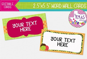 Word Wall Cards - Pink, Green and Chocolate Brown {EDITABLE}