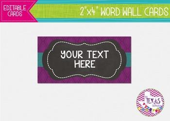 Word Wall Cards - Plum, Aqua and Chalkboard {EDITABLE}