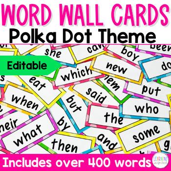 Word Wall Cards {Polka Dots} **EDITABLE**