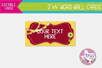Word Wall Cards - Red and Yellow Flowers {EDITABLE}