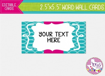 Word Wall Cards - Teal and Pink {EDITABLE}