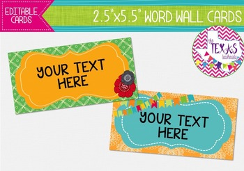 Word Wall Cards - Yellow, Green and Turquoise {EDITABLE}