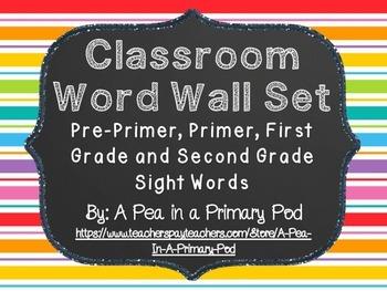 Word Wall Display (Chalkboard and Rainbow Stripe)