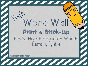 Word Wall - Fry's Word Lists 1, 2, & 3
