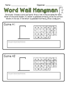 Word Wall Hangman Freebie!