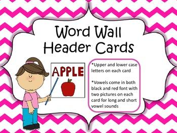 Word Wall Header Cards (Pink Chevron)