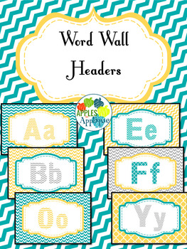 Word Wall Header Cards in Yellow, Teal, and Gray