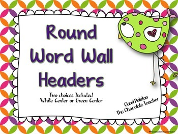 Word Wall Headers Pink and Green