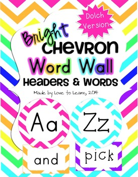 Word Wall Headers & 200 Words - Bright Chevron - Dolch Version