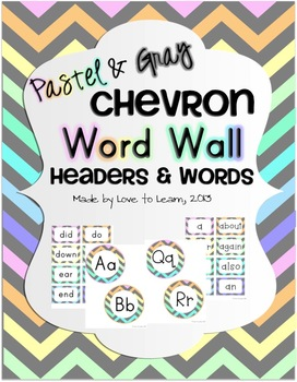 Word Wall Headers & 200 Words - Pastel & Gray Chevron