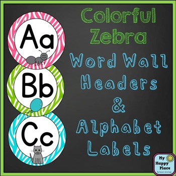Word Wall Headers & Alphabet Labels: Colorful Zebra