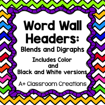 Word Wall Headers:  Blends and Digraphs