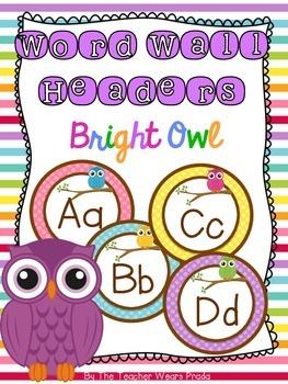 Word Wall Headers {Bright Owls}