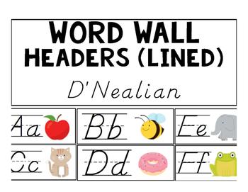 Word Wall Headers (D'Nealian Lined)