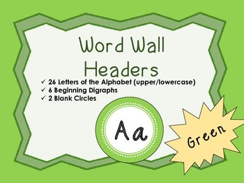 Word Wall Headers {Green}  - Upper and Lowercase Letters,