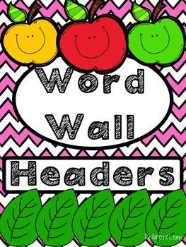 Word Wall Headers Pink Chevron