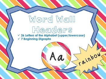 Word Wall Headers {Rainbow}  - Upper and Lowercase Letters