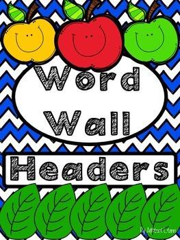 Word Wall Headers Royal Chevron