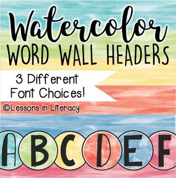 Word Wall Headers {Watercolors}