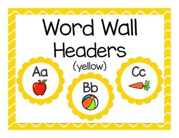 Word Wall Headers: Yellow Flower