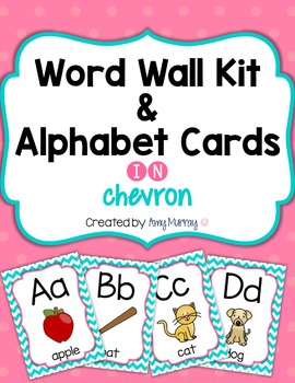 Word Wall Kit and Alphabet Cards in Chevron with EDITABLE