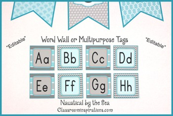 Word Wall Labels – Editable – Coordinates with Nautical by