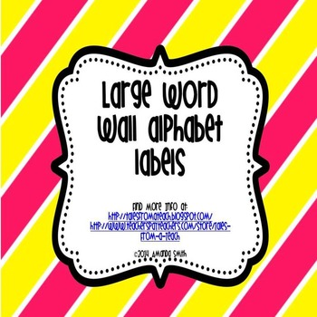 Word Wall Labels: Large Labels for Student Reference