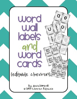 Word Wall Labels and Word Cards {editable chevron}