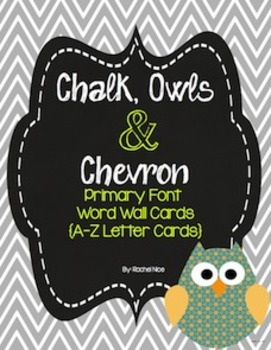Word Wall Labels in Primary Font - Owls, Chalkboard and Ch