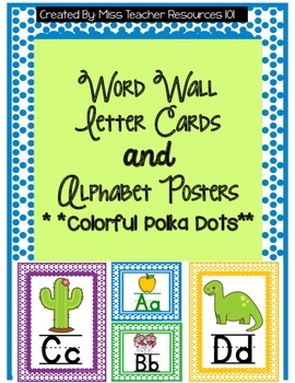 Word Wall Letter Cards and Alphabet Posters - Color Polka Dots