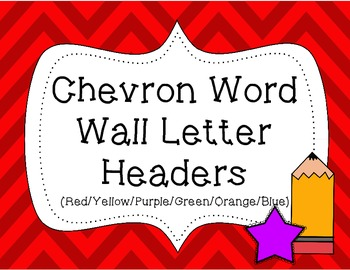 Word Wall Letter Headers {Colorful Chevron 1}
