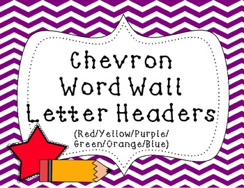Word Wall Letter Headers {Colorful Chevron 2}