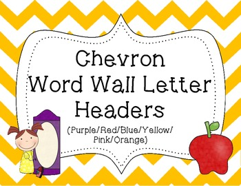 Word Wall Letter Headers {Colorful Chevron 3}