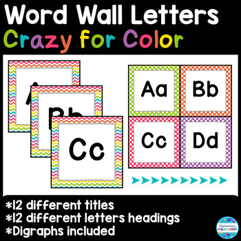 """Word Wall Letters and Title in """"Crazy for Color"""""""