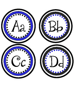Word Wall Letters- Black and Blue