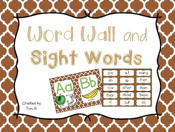 Word Wall Letters Brown Moroccan Background and first 300