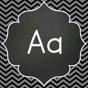 Word Wall Letters - Chalkboard with Black and Gray Chevron