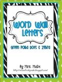 Word Wall Letters (Green Polka Dots & Zebra)
