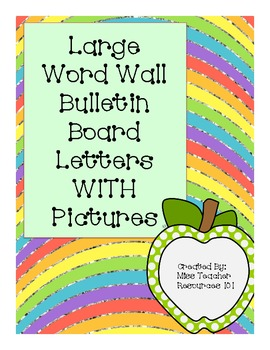 Word Wall Bulletin Board Letters - Large with Picture and