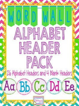 Word Wall - Neon Chevron Word Wall Alphabet Headers {A to Z}