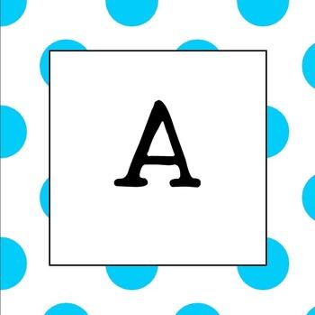 Word Wall Letters  UPPER CASE (Light Blue Polka Dot)