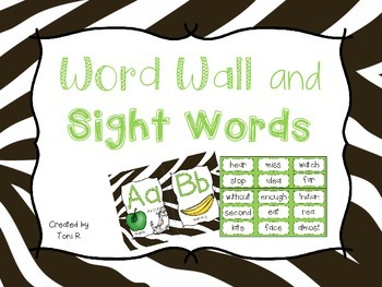 Word Wall Letters Zebra Print Jungle Background and first