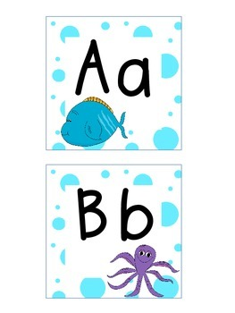Word Wall Letters and Alphabet Heading Ocean Theme