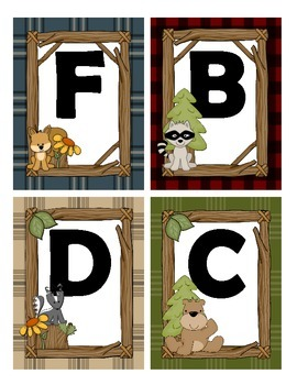 Word Wall Letters in a Forest, Animal, Woodland Theme