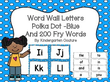 "Word Wall Letters on Bright Blue with Polka Dots and ""200"""